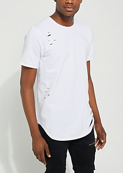 White Longer Length Ripped Essential Tee