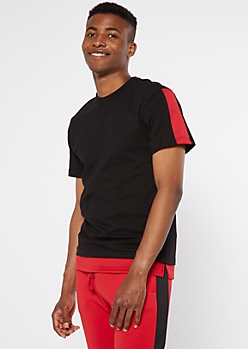 Red Stripe Sleeve Layered Tee