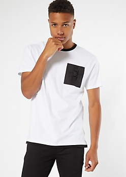White Ringer Utility Buckle Pocket Tee
