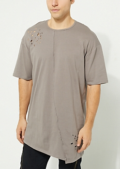 Gray Washed Curved Center Seam Knit Tee