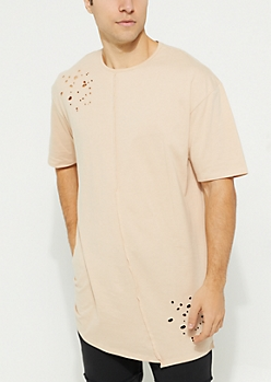Sand Washed Curved Center Seam Knit Tee