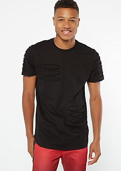 Black Contrast Slashed Tee
