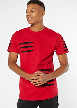 Red Contrast Slashed Tee