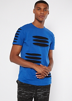 Royal Blue Layered Slashed Tee