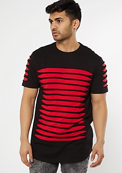 Black Layered Slashed Tee