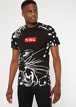 Black Leopard King Embroidered Graphic Tee