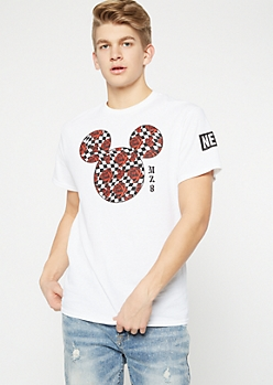 Neff White Checkered Rose Mickey Mouse Graphic Tee