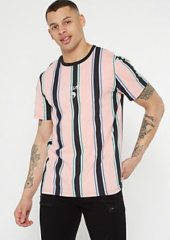 Salmon Striped Dreamer Yin Yang Embroidered Tee