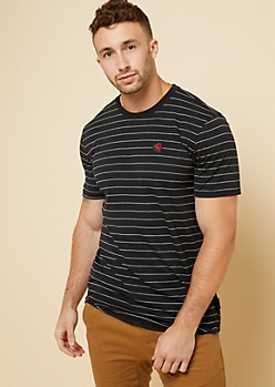 Black Striped Embroidered Rose Patch Tee