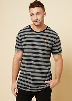 Black Striped Embroidered Pizza Patch Tee