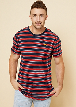 Navy Striped Embroidered Pizza Patch Tee
