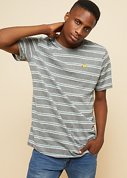 Black Marled Double Striped Taco Patch Tee