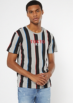Gray Striped Tokyo Embroidered Tee