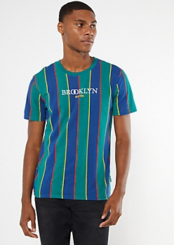 Green Striped Brooklyn Embroidered Tee
