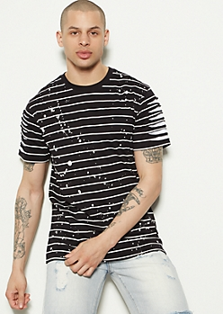 Black Striped Slashed Paint Splattered Tee