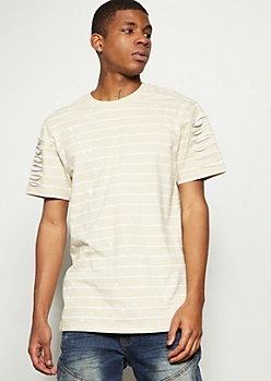 Sand Striped Slashed Paint Splattered Tee