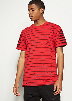 Red Striped Slashed Paint Splattered Tee