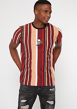 Burgundy Striped Love You To Death Embroidered Tee