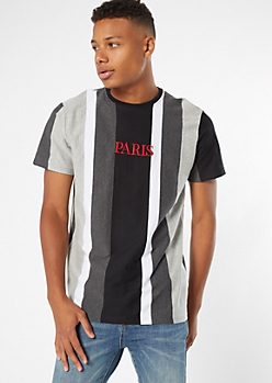 Gray Striped Paris Embroidered Tee