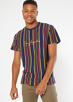 Navy Striped Los Angeles Embroidered Tee