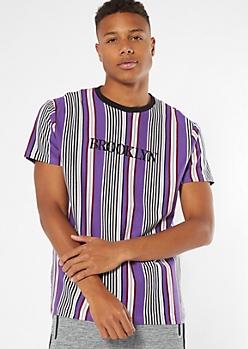 Purple Striped Brooklyn Embroidered Tee