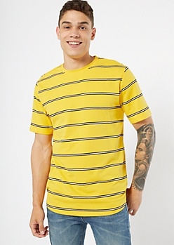 Yellow Striped Crew Neck Tee
