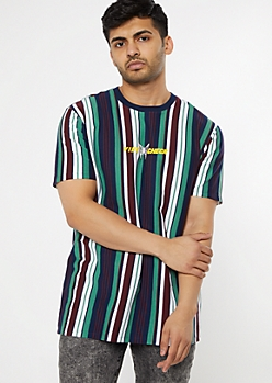 Teal Striped Vibe Check Print Tee