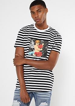 Black Striped Cherub Graphic Tee