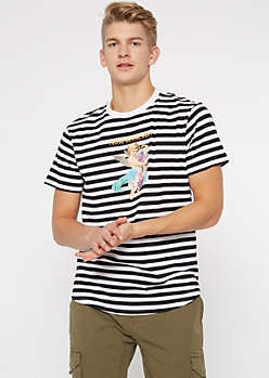 Black Striped Now Or Never Graphic Tee
