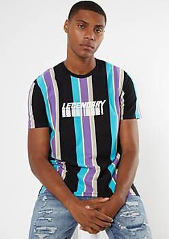 Black Striped Legendary Graphic Tee