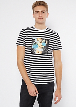 Black Stripe Print Cherub Rose Graphic Tee