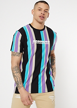 Blue Striped Paradise Graphic Tee