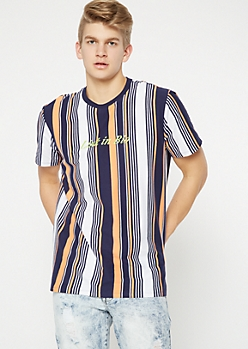 Navy Striped Link In Bio Embroidered Tee