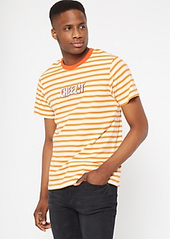 Orange Striped Cheez-It Embroidered Tee