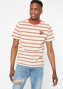 Pastel Striped Pac Man Embroidered Tee