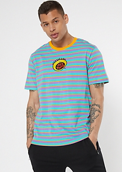 Teal Striped All That Logo Embroidered Tee