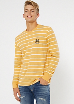 Yellow Striped Skull Embroidered Tee