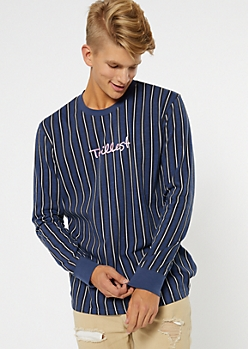 Navy Striped Trillest Embroidered Tee
