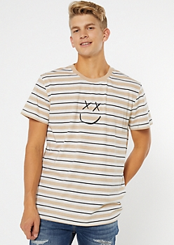 Sand Striped Smiley Embroidered Tee
