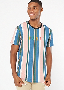 Blue Striped Paris Embroidered Tee