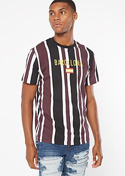 Plum Striped Barcelona Embroidered Tee
