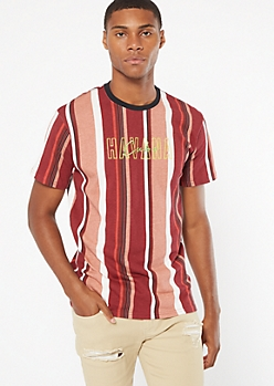 Burgundy Striped Havana Cuba Embroidered Tee
