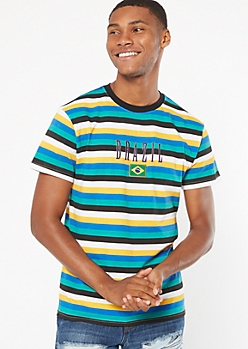 Teal Striped Brazil Embroidered Tee