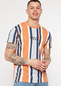 Orange Striped Viral Embroidered Tee