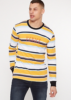 Yellow Striped Venice Embroidered Tee