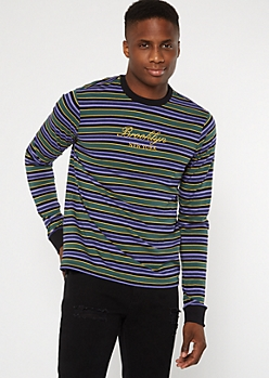 Purple Striped City Embroidered Tee
