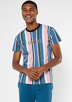 Blue Striped Luxury Embroidered Tee