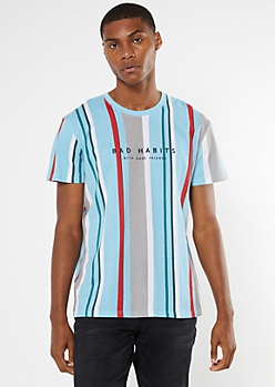 Blue Striped Bad Habits Embroidered Tee