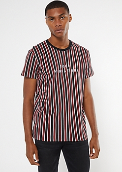 Black Striped Good Vibrations Embroidered Tee
