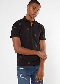 Black Embroidered Rose Print Polo Shirt